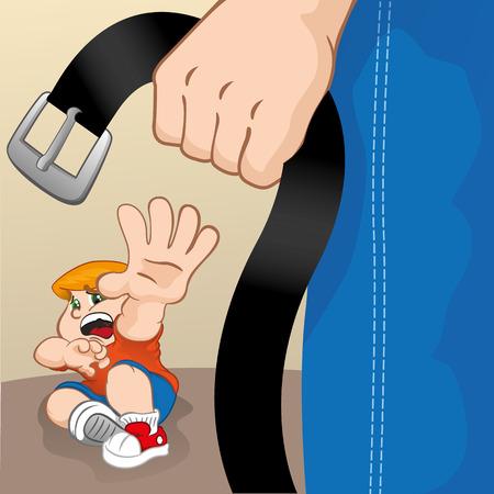 Illustration eines Kindes die Enge getrieben und von Erwachsenen angegriffen. Ideal für Kataloge, informativ und institutionellen Materialien