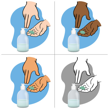 pressure bottle: Shaking hands and using soap liquid packing, pump, ethnicities. Ideal for catalogs, newsletters and catalogs 3D packaging Illustration
