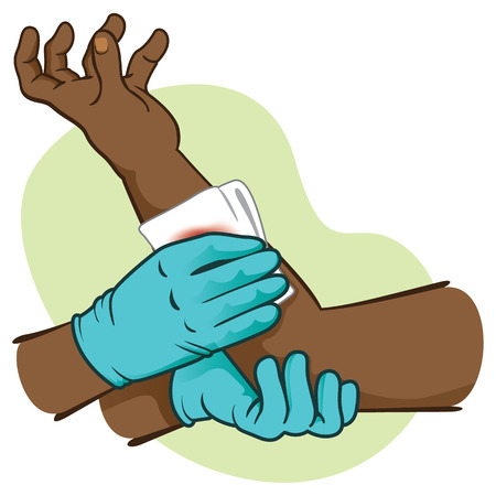 First Aid, bleeding control rising injured member afrodescendant. Ideal for medical supplies, educational and institutional