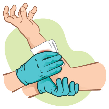 cartoon nurse: First Aid elevating control bleeding injured limb. Ideal for medical supplies, educational and institutional