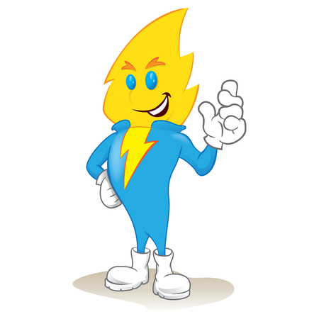 Illustration of an electric power mascot. Ideal for catalogs, informative and institutional and educational materials