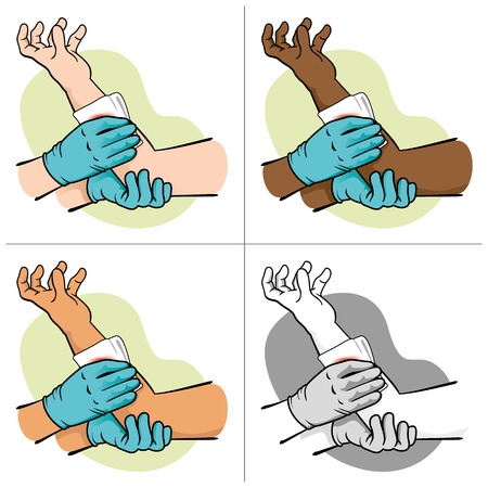 cartoon accident: First Aid elevating control bleeding injured limb. Ideal for medical supplies, educational and institutional