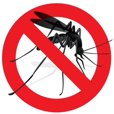 biology: Signaling, mosquitoes with Mosquito warning, prohibited sign. Ideal for informational and institutional sanitation and related care