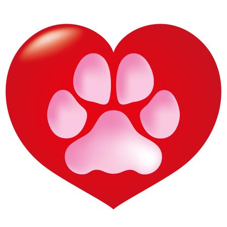 couple dating: Icon or symbol heart with animal dog paw footprint. Ideal for informational and institutional veterinarian Illustration