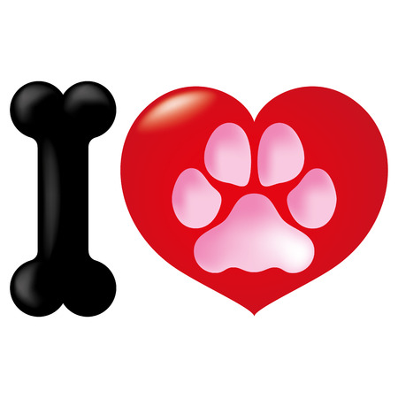 Icon or symbol heart, i love animals, dog. Ideal for informational and institutional veterinarian