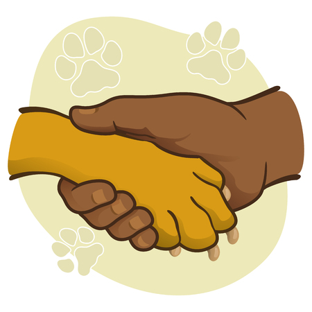 complicity: Illustration human hand holding a paw, African descent. Ideal for catalogs, informative and veterinary institutional materials