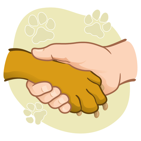 Illustration human hand holding a paw, Caucasian. Ideal for catalogs, informative and veterinary institutional materials Ilustração