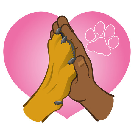 Illustration human hand holding a paw, heart, African descent. Ideal for catalogs, informative and veterinary institutional materials