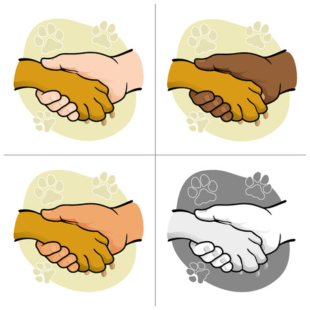 complicity: Illustration human hand holding a paw, ethnicity. Ideal for catalogs, informative and veterinary institutional materials