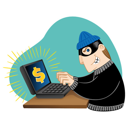 burglar: Illustration virtual thief breaking into a computer. Ideal for catalogs, informative and institutional materials