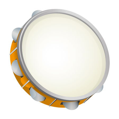 popular music: Illustration object musical instrument, tambourine, samba. Ideal for educational materials and institutional support