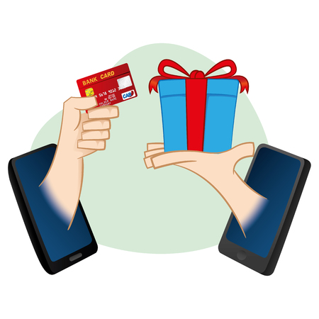 catalogs: Cell illustration mobile person purchases via online with credit card statement. Ideal for catalogs, informative and institutional guides