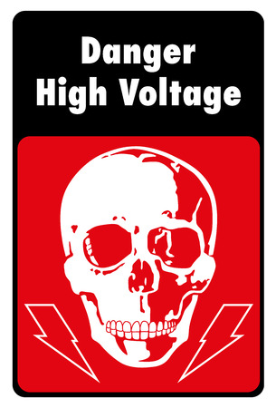 signpost, high voltage danger. Ideal for visual communication and institutional materials