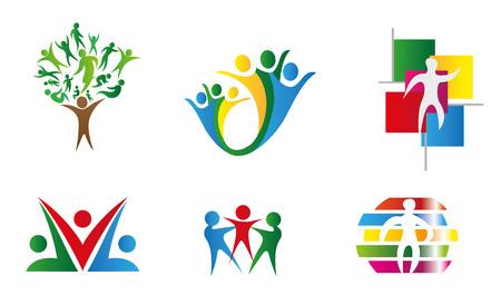 conglomerate: Icons geometric symbols union society Illustration