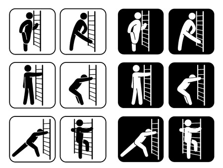 stretching: Icons pictogram of stretching exercises. Ideal for institutional and sporting goods