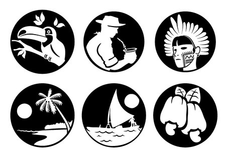 institutional: Icons and cultural symbols of Brazil customs fauna and flora, Brazilian tourism. Ideal for informational and institutional related tourism