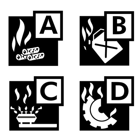 flammable materials: Icons of flammable or fire. Ideal for institutional materials and training Illustration