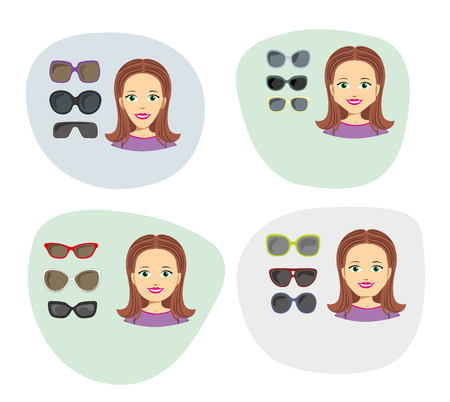 eyeglass: Infographic illustration of glass to face different shape. Ideal for fashion catalogs and trends
