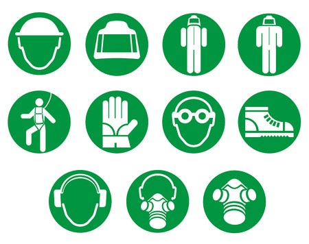 gas masks: icons and cryptogram of work equipment. Ideal for institutional materials and training