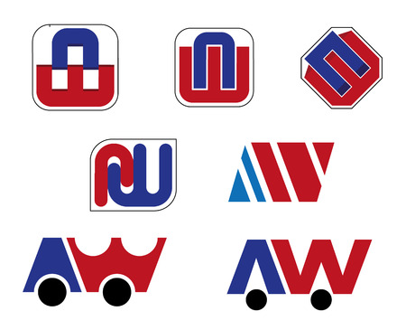 botton: Composition of icons formed by the letter A and the letter W, ideal for visual identity and branding materials Illustration