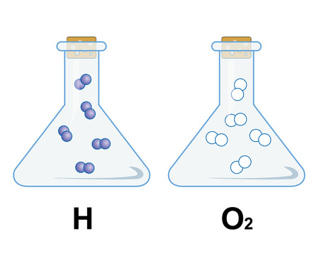 hidr�geno: La ilustraci�n representa la qu�micos de hidr�geno y ox�geno en el Becker. Ideal para materiales educativos e institucionales
