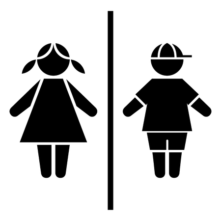 genders: Icon pictogram children boy and girl genders. Ideal for catalogs, informative and institutional materials