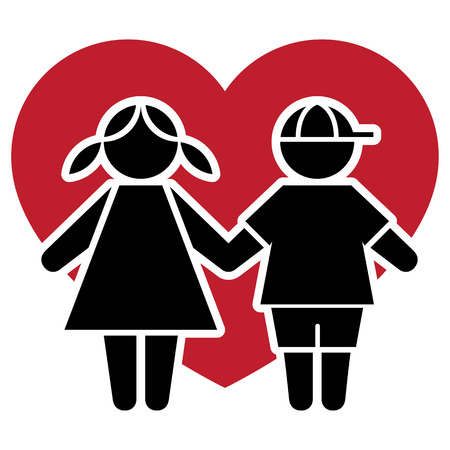 complicity: Icon pictogram couple kids with heart and love. Ideal for catalogs, informative and institutional materials