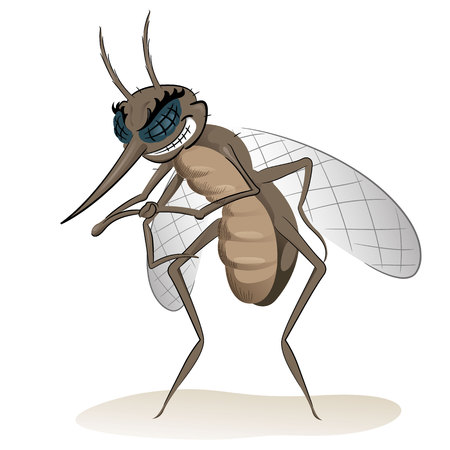 infected: Nature, mosquitoes stilt disease transmitter. Ideal for informational and institutional sanitation and related care Illustration