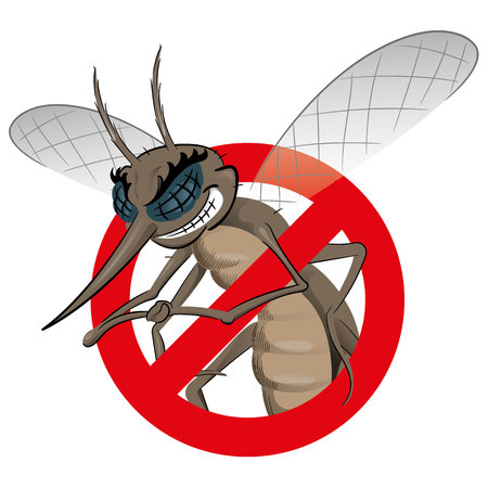 dengue fever: Signaling, mosquitoes with Mosquito black warning, prohibited sign. Ideal for informational and institutional sanitation and related care Illustration