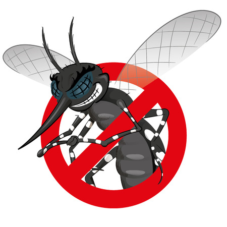 institutional: Signaling, mosquitoes with Mosquito black warning, prohibited sign. Ideal for informational and institutional sanitation and related care Illustration