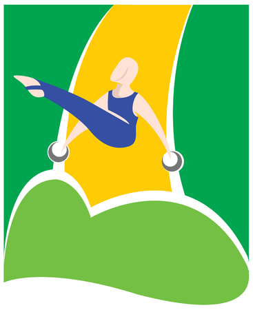 educational materials: Illustration is a gymnast person, various forms of gymnastics on the rings. Ideal for educational materials, sports and institutional Illustration