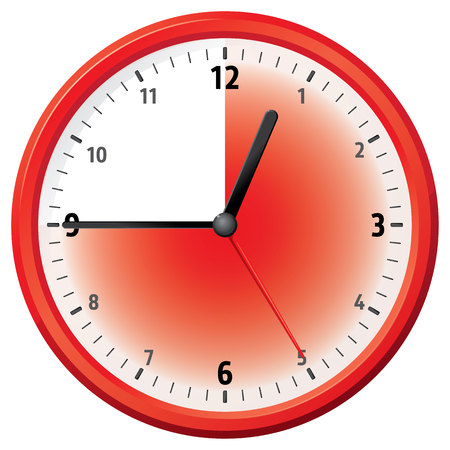 the delayed: Illustration of a clock at forty-five minutes. Can be used in ads and institutional