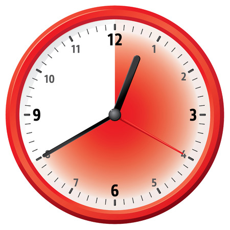 forty: Illustration of a clock at forty minutes. Can be used in ads and institutional