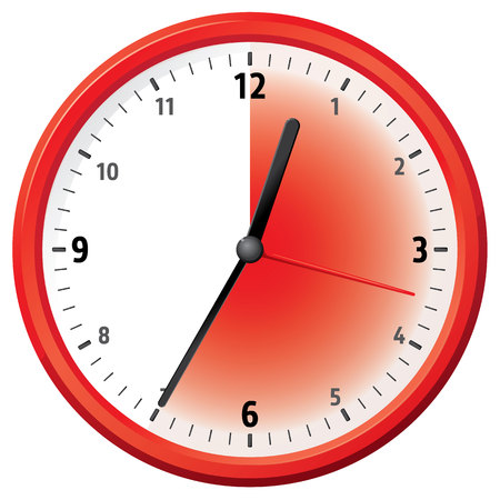 the delayed: Illustration of a clock at thirty-five minutes. Can be used in ads and institutional Illustration