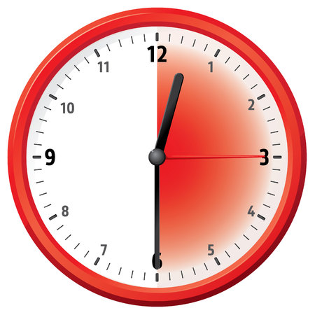 thirty: Illustration of a clock at thirty minutes, half an hour. Can be used in ads and institutional