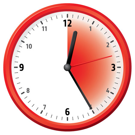 twenty second: Illustration of a clock marking twenty five minutes. Can be used in ads and institutional