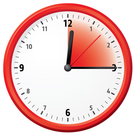 fifteen: Illustration of a clock marking fifteen minutes. Can be used in ads and institutional
