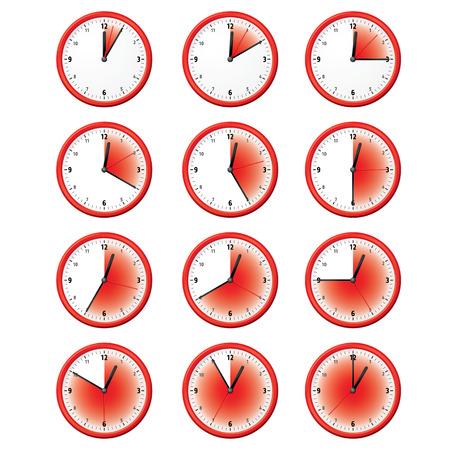 Illustration d'une horloge à différents moments minutes. Peut être utilisé dans les annonces et institutionnel Vecteurs