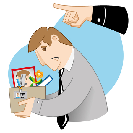 sent: Executive professional person Illustration being dismissed, sent away. Ideal for institutional and informative catalogs training