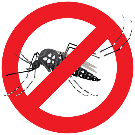 contaminacion del agua: Naturaleza, los mosquitos Aedes aegypti zancos con el signo de prohibido. Ideal para el saneamiento y la atención relacionada con el informativo e institucional