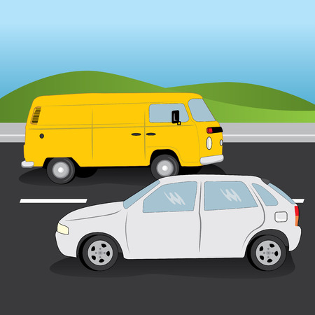 defensive: Illustration of car and van vehicles in a two-way road. Ideal for catalogs, informational and institutional materials