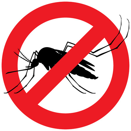institutional: Nature, silhouette stilt mosquitoes with forbidden sign. Ideal for informational and institutional related sanitation and care