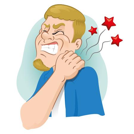 Luly mascotte illustratie met spierpijn, krampen zijn hand op de nek aangeven crick. Ideaal voor catalogi, informatieve en institutionele materialen Vector Illustratie