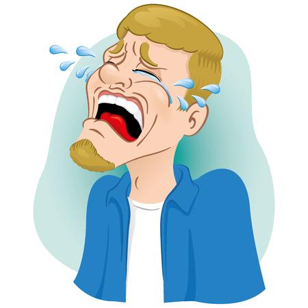 Luly mascotte illustratie huilen, vergieten tranen. Ideaal voor catalogi, informatieve en institutionele materialen Vector Illustratie