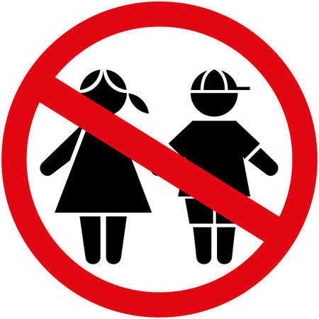 genders: Icon pictogram plate prohibited children boy and girl genders. Ideal for catalogs, informational and institutional materials Illustration