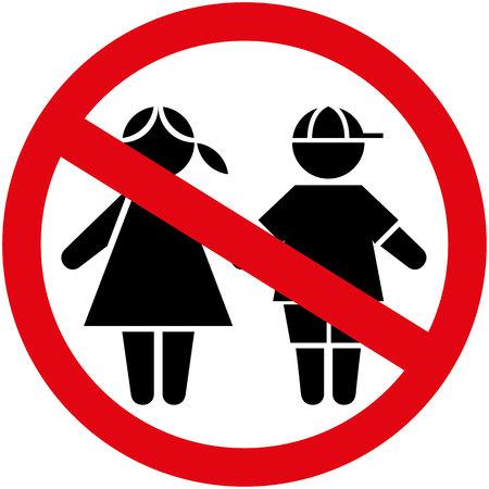 Icon Piktogramm Platte Kinder Jungen und Mädchen Geschlechter verboten. Ideal für Kataloge, Informations- und institutionellen Materialien