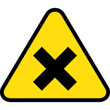 warning triangle: yellow triangle sign board, close, X Illustration