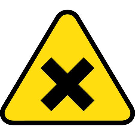 delimitation: yellow triangle sign board, close, X Illustration