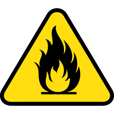 flammable materials: Board yellow triangle signage, burning, fire, flammable. Ideal for visual communication and institutional materials Illustration