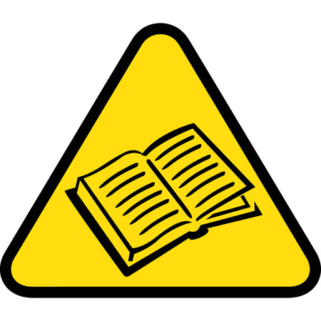 Conseil triangle jaune signalétique, livre, magazine